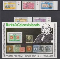 Turks & Caicos Islands 1979 Sir Rowland Hill 5v + M/s ** Mnh (42564) - Turks- En Caicoseilanden