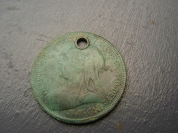 Médaille Half Penny Victoria 1901, Belle Patine. - Royaume-Uni