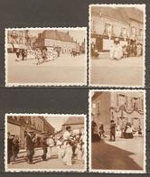 LOT DE 4 PHOTOS - FETE DE BOURGES FANFARE CURE CAFE TABAC COMPTOIR DE L'AMEUBLEMENT AU BERRY MODERNE - CHER (18) - Places
