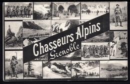 CP 7- CPA ANCIENNE- MILITARIA- CHASSEURS ALPINS DE GRENOBLE- CARTE SOUVENIR MULTI VUES TRÈS ANIMÉES- - Militaria