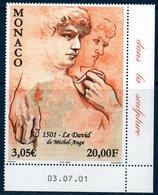 """MON 2001  """"Le David"""" De Michel Ange  N° YT 2276-2278 ** MNH   Coin De Feuille Daté - Monaco"""