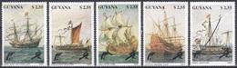 Guyana 1990 Transport Schiffe Ships Segelschiffe Sailships Galeone Brigg Hulk Marine Marines Kriegsschiff, Mi. 3292-6 ** - Guyane (1966-...)