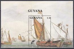 Guyana 1990 Transport Schiffe Ships Segelschiffe Sailships Seefahrt Seafare Schifffahrt Holland Niederlande, Bl. 110 ** - Guyane (1966-...)