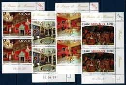 MON 2001  Les Grands Appartements Du Palais  N° YT 2310-2313  Paires Bord De Feuille Avec Coin Daté - Monaco