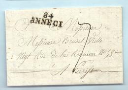 Département Conquis Du Montblanc - Annecy Pou Paris. MP 84/ANNECI. LAC De L'An XI - Marcophilie (Lettres)