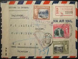 3/1943 WWII Transatlantic Airmail From Trinidad Via BEIRUT To HAIFA Censored 5 Times - WW2