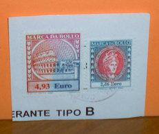 Fiscali Italia  Marca Bollo Euro 4,93 - 2,46  Su Frammento - 6. 1946-.. Republic