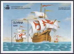 Guyana 1992 Geschichte History Entdeckungen Discovery Schiffe Ships Segelschiffe Sailships Kolumbus Columbus, Bl. 162 ** - Guyane (1966-...)
