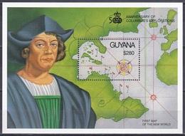 Guyana 1992 Geschichte History Entdeckungen Discovery Landkarten Seekarten Maps Kolumbus Columbus, Bl. 163 ** - Guyane (1966-...)