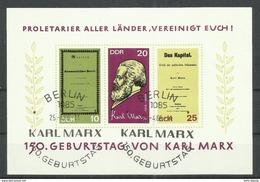 """DDR Bl. 27 """"150. Geburtstag Von Karl Marx.""""  Sonderstempel.Mi 4,50 - Blocs"""