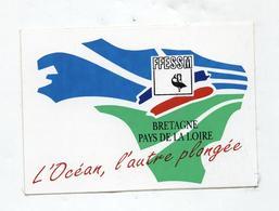 Autocollant Bretagne Plongée Nage Pêche Pays De La Loire FFESSM Fédération Française D'études Et De Sports Sous-marins - Autocollants