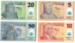 Nigeria UNC Lot Set 5 - 10 - 20 - 50 Naira 2009 S/N 6 Digits .PL. - Nigeria