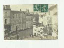 78 - POISSY - CP PHOTO - Inondation Place De La Gare Hotel Val Rouge Animé Bon état - Poissy