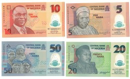 Nigeria UNC Lot Set 5 - 10 - 20 - 50 Naira 2008-2009 .PL. - Nigeria