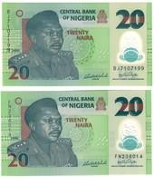 Nigeria UNC Lot Set 20 Naira 2006 S/N With 6 & 7 Digits  .PL. - Nigeria
