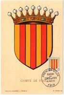 HERALDIQUE = 09 FOIX 1955 = CARTE MAXIMUM + CACHET PREMIER JOUR N° 1044 ARMOIRIES Du COMTÉ - Maximumkarten
