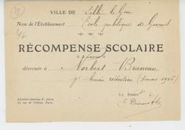 SILLÉ LE GUILLAUME - Carte De RECOMPENSE SCOLAIRE Décernée En 1916 Par L'Ecole Publique De Garçons - Sille Le Guillaume