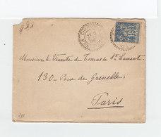 Sur Enveloppe CAD Champtocé Maine Et Loire 1898 Sur Type Sage 15 C Bleu. CAD Destination Paris Distribution. (2192x) - Postmark Collection (Covers)
