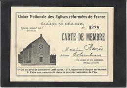 CPA Carte Adhérent Protestant Béziers - Cristianismo