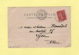 Marseille A La Reunion Ligne U N°1 - 27 Oct 1906 - Cpa De Djibouti - Type Semeuse - Postmark Collection (Covers)