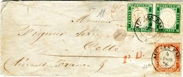 ANTICHI STATI IV SARDEGNA Lettera  COPPIA 5c Verde Smeraldo (rara Coppia) 40c Vermiglio Tenue Certificato Cardillo 1856 - Sardinia