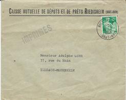 LETTRE 1959 AU TARIF IMPRIMES AVEC CACHET DE RIEDISHEIM - Elsass-Lothringen