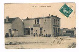 AMBONNAY  51  Le Café De La Gare . Animée .1910 - Autres Communes
