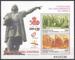 Äquatorial-Guinea Ecuatorial 1992 Gschichte History Entdeckungen Discovery Kolumbus Columbus GENOVA, Bl. 322 ** - Guinea Ecuatorial