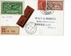 LETTRE JOURNEE PHILATELIQUE D'AVIATION LE BOURGET 1925 , VIGNETTE VERTE NON DENTELE. TTB - France