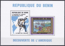 Benin Dahomey 1992 Geschichte History Entdeckungen Discovery Kolumbus Columbus Sklaven Slaves Guanahani, Bl. 7 ** - Benin – Dahomey (1960-...)
