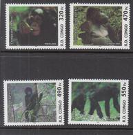 2005  Congo Kinshasa Monkeys Singes Gorillas Chimpanzees  Complete Set Of 4 MNH - Dem. Republik Kongo (1997 - ...)
