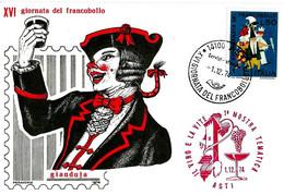 ITALIA - 1974 ASTI 16^ Giornata Del Francobollo 2 Annulli (Filatelico, Serv.distaccati) +timbro Rosso Mostra Vite E Vino - Vini E Alcolici