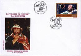 Eclipse Solaire Totale 11 08 1999,Lion,Chanteur De Opera PAVAROTTI   FDC - Roumanie/Romania - Astronomie