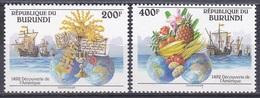 Burundi 1992 Geschichte History Entdeckungen Discovery Kolumbus Columbus Insignien Früchte Fruits, Mi. 1756-7 ** - Burundi