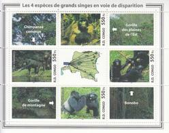 2005  Congo Kinshasa Game Parks Monkeys Gorillas Chimpanzees Elephants Rhino Complete Set Of 5 Sheets MNH - Ongebruikt