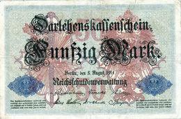 Billet Allemand De 50 Mark Du 5-8-1914- 6 Chiffres Rouge S - N° 427969 En T B - - [ 2] 1871-1918 : Duitse Rijk