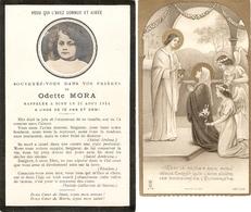 Faire-part De Décès D'Odette Mora (+1914) Avec Photographie + Image De Sa Communion à Rion Des Landes En 1933 - Obituary Notices