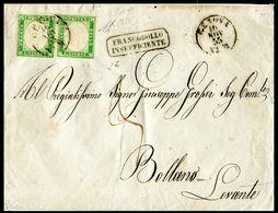 ANTICHI STATI IV SARDEGNA Lettera  Con Coppia Rarissima Del 5 C Verde Giallo Giallo Pisello  Certificato Cardillo 1855 - Sardegna