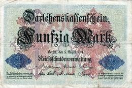 Billet Allemand De 50 Mark Du 5-8-1914- 6 Chiffres Rouge X-N° 983356 En T B - - [ 2] 1871-1918 : Duitse Rijk