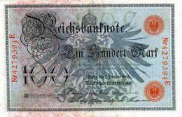 Billet Allemand De 100 Mark Du 7-2-1908 Chiffres Rouge De 29 Mm De Long Neuf N°4279394 E - [ 2] 1871-1918 : German Empire