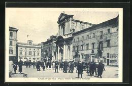 Cartolina Civitavecchia, Piazza Vittorio Emanuele E Cattedrale - Civitavecchia