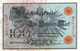 Billet Allemand De 100 Mark Du 7-2-1908 Chiffres Rouge De 29 Mm De Long Neuf N°4279352 E - [ 2] 1871-1918 : German Empire