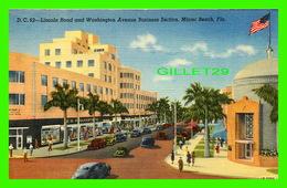 MIAMI BEACH, FL - LINCOLN ROAD & WASHINGTON AVENUE BUSINESS SECTION -  ANIMATED OLD CARS - DADE COUNTY NEWSDEALERS - Miami Beach