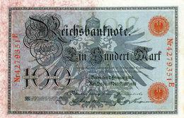 Billet Allemand De 100 Mark Du 7-2-1908 Chiffres Rouge De 29 Mm De Long Neuf N°4279351 E - [ 2] 1871-1918 : German Empire