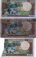 Lot De 3 Billets De Madagascar 100 Francs = 20 Ariary N D ( 1964 ) - Madagascar