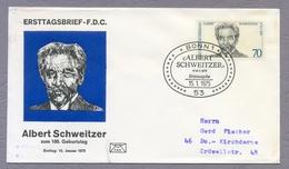 Germany Deutschland 1975 FDC Albert Schweitzer Theologe Muser Theologian Writer Humanitarian Philosopher Musician - Nobel Prize Laureates
