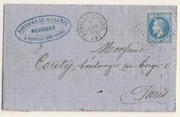 (C19) - Y&T N°29 LETTRE ROMILLY SUR SEINE => PARIS 1868 - 1849-1876: Classic Period