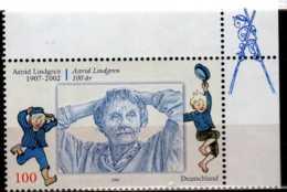 2007 Germany / BRD -100. Geburtstag Von Astrid Lindgren -J.Issue With Sweden- 1 V Corner MNH** Mi 2629 - Gemeinschaftsausgaben