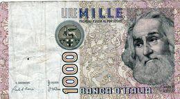 Billet De L'Italie De 1000 Lire Le 3 Octobre 1990 En T B -signature Ciampi Et Stevani - - [ 2] 1946-… : République