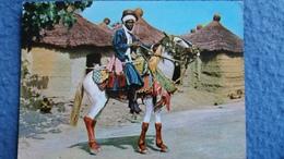 CPSM CHEVAL HORSE CAVALIER BARIBA DAHOMEY DJOUGOU ED ROUILLE 1971 BEAUX TIMBRES - Cavalli
